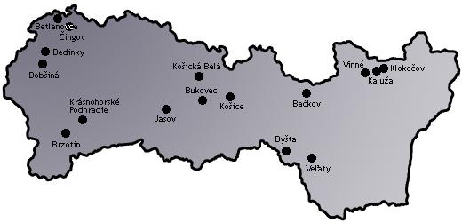 Mapa - košický kraj