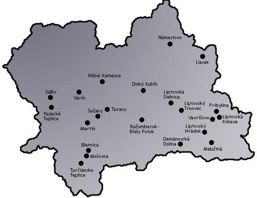 Mapa - Žilinský kraj
