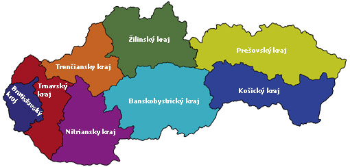 Mapa - kraje